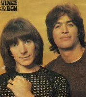 In younger times Bon Scott (left) and Vince Lovegrove (right)