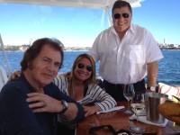 Engelbert Humperdinck, Jo Dorsey and John Symond aboard Xanadu on Sydney Harbour