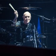 Chris Slade drummer for AC/DC performs at Etihad Stadium in Melbourne on Sunday 6 December 2015. They are in Australia on the final leg of their Rock Or Bust World Tour.