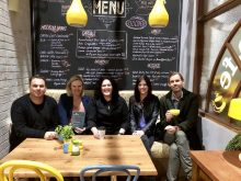 L to R: Jason Herbison, Alexandra Cunningham, Natalie Mandel (of Fremantle Media), Amy Jarman & Heath Johns (of BMG Australia)