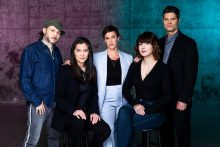 (Left to right: Sidi Larbi Cherkaoui, Diane Paulus, Alanis Morissette, Diablo Cody, Tom Kitt. Photo by Matthew Murphy)