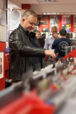 2017 Record Store Day Ambassador Anthony Albanese (aka Albo) at Red Eye Records handing over the Ambassadorship to the current ambassadors. Photo by Ros O'Gorman