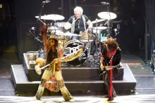 Joey Kramer with Aerosmith photo by Ros OGorman