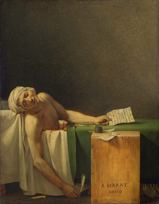 the 1793 Jacques-Louis David painting 'The Death of Marat'