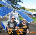 The Bluesfest Sunflower with inventor Dr Barry Hill (left) and student Dylan Blackman, Noise11, photo