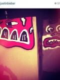 Justin Bieber QT Hotel graffiti art
