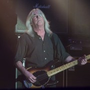 Cliff Williams bass guitarist for AC/DC performs at Etihad Stadium in Melbourne on Sunday 6 December 2015. They are in Australia on the final leg of their Rock Or Bust World Tour.