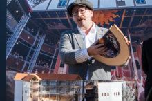 Dr Miles Gregory at the Shakespeare Gardens Pop Up Globe Announcement. The Pop Up Globe starts in September 2017 at the Myer Music Bowl. Photo by Ros OGorman