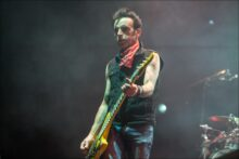 Simon Gallup of The Cure perform at Rod Laver Arena in Melbourne on Thursday 28 July 2016. Photo by Ros O'Gorman